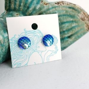 3/$15 Blue Mermaid Scale Flatback Stud Earrings